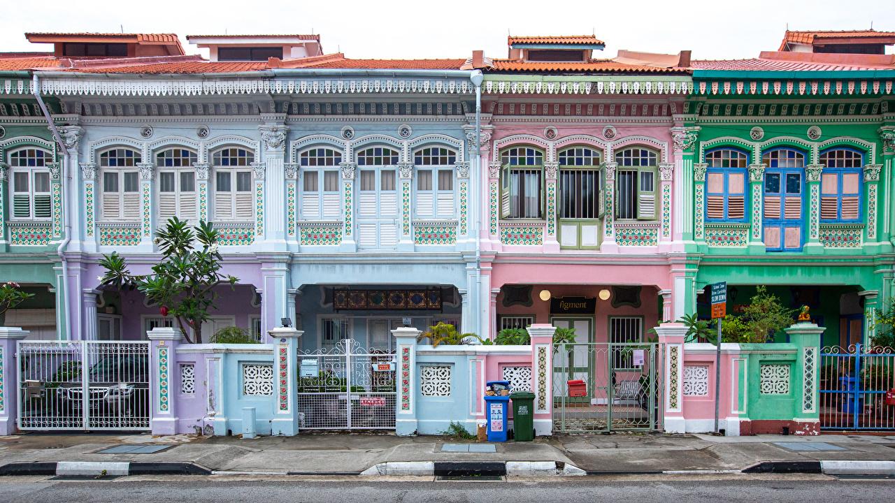 Обои для рабочего стола Сингапур Katong улице ограда Дома город дизайна улиц Улица Забор забора забором Здания Города Дизайн