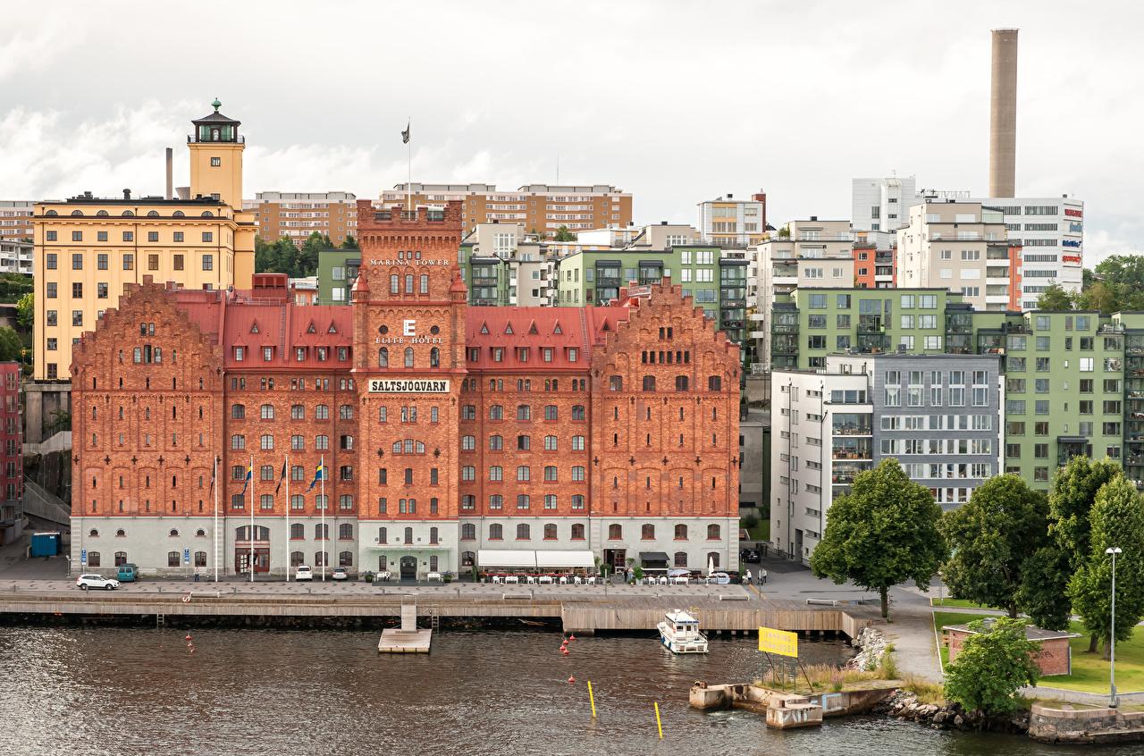 Фото Стокгольм Швеция Залив Пристань Здания Города Пирсы залива заливы Причалы Дома город
