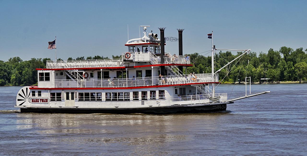 Фотография США Misissippi River, Mark Twain Riverboat Ретро Корабли штаты америка винтаж старинные корабль