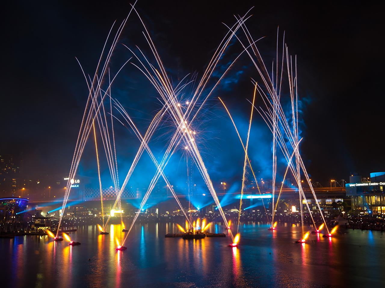 Фотография Сидней Австралия фейерверк Day Firework Ночь Города Салют ночью в ночи Ночные город