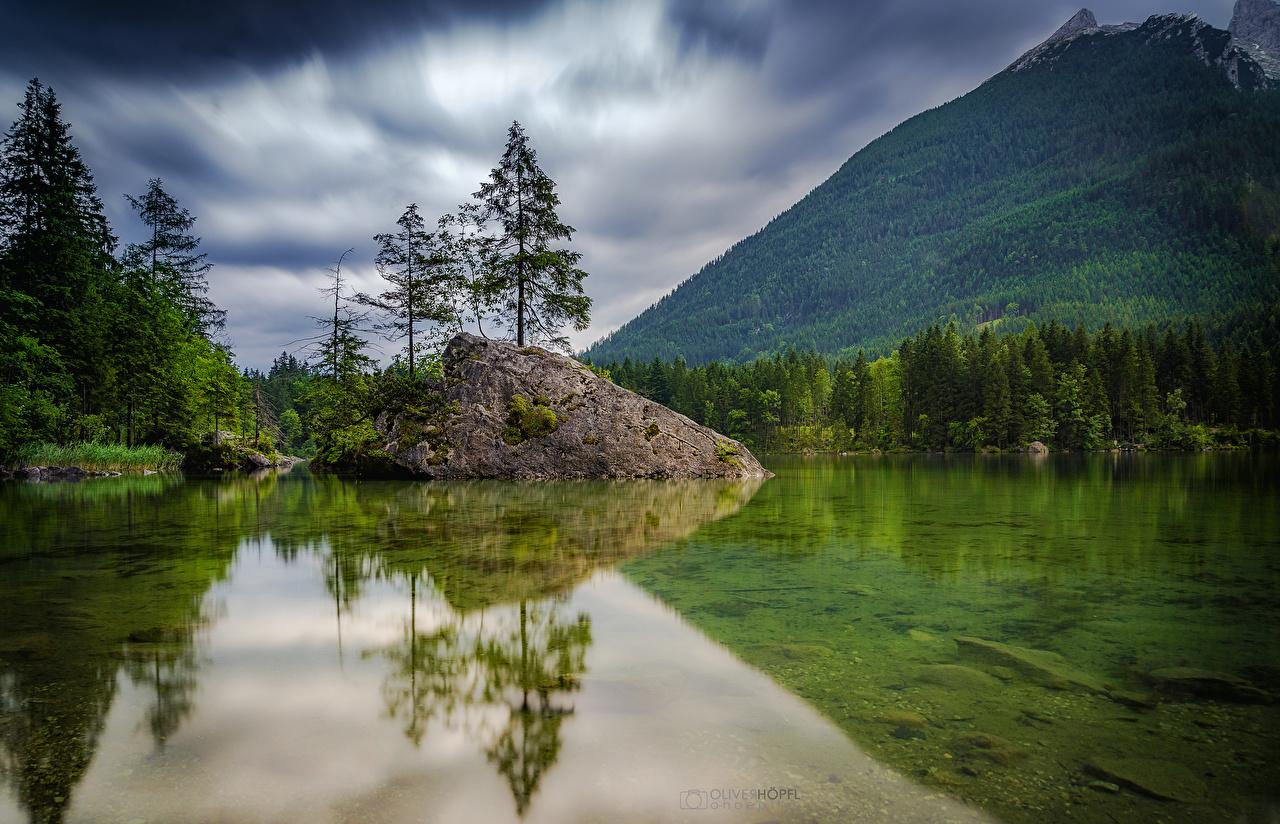 Фотографии Германия Hintersee гора Природа лес Озеро Пейзаж деревьев Горы Леса дерево дерева Деревья