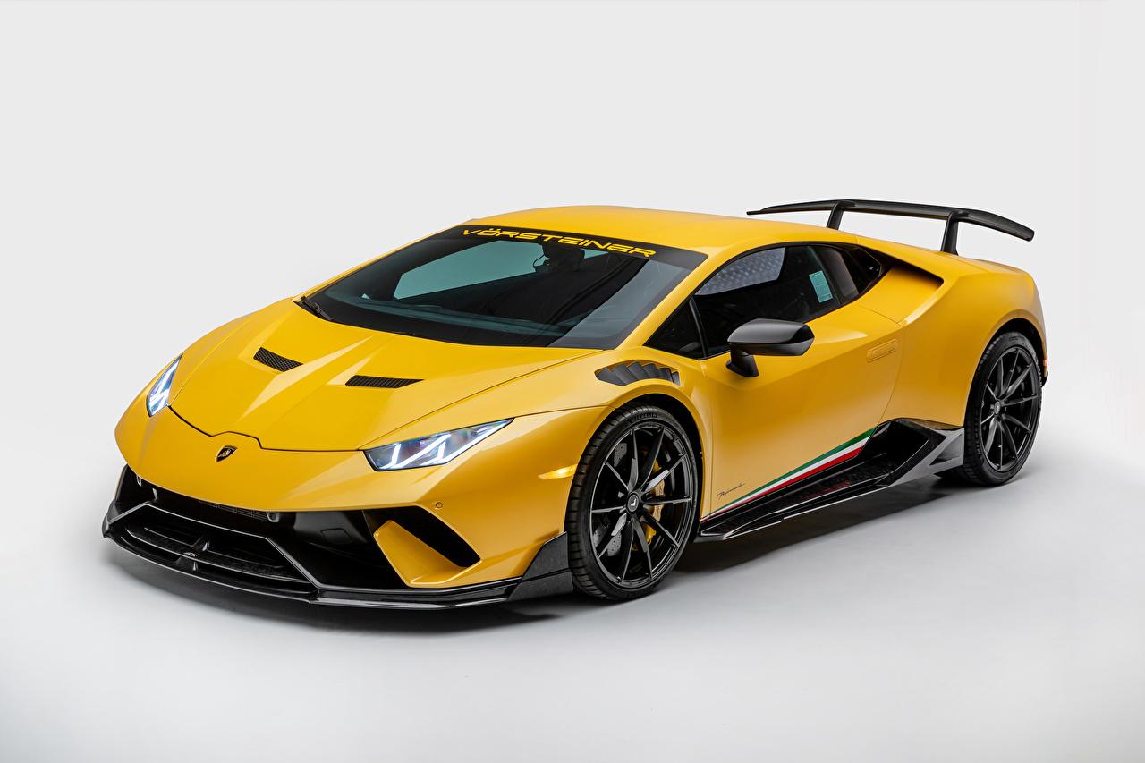 Фотографии Lamborghini 2019 Vorsteiner Huracán Perfomante Vicenzo Edizione желтая машины Металлик белом фоне Ламборгини желтых желтые Желтый авто машина автомобиль Автомобили Белый фон белым фоном
