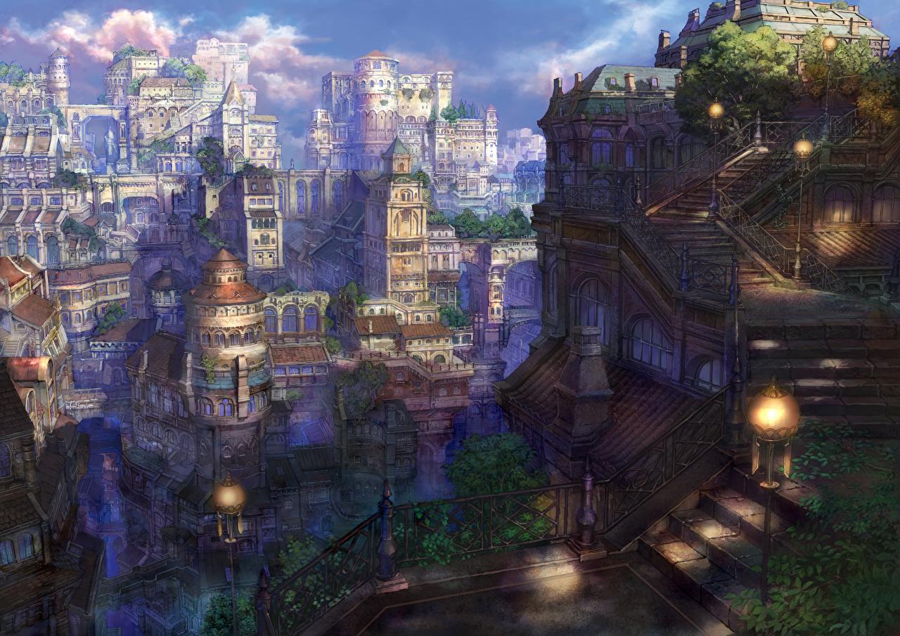Картинки Munashichi Аниме Фэнтези Фантастический мир город Здания Фантастика Дома Города