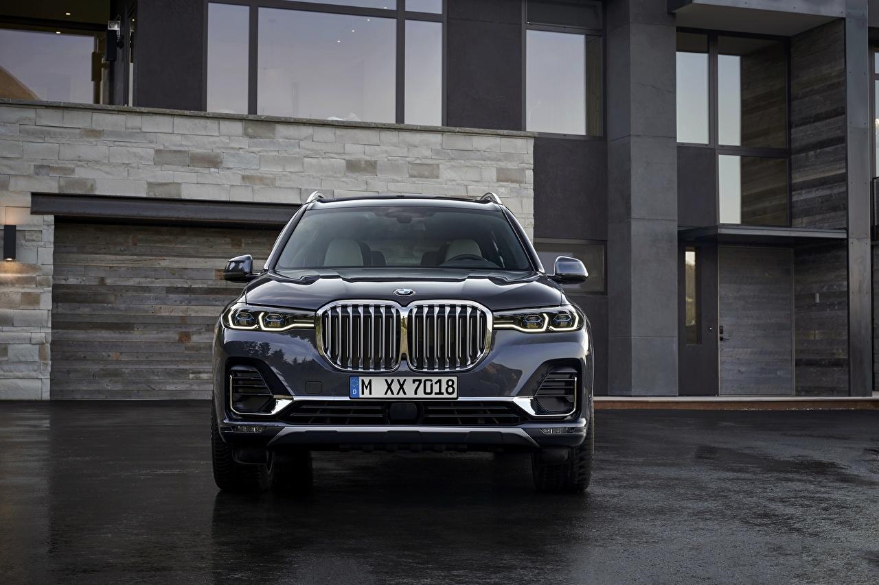 Обои для рабочего стола БМВ Кроссовер 2019 X7 G07 авто Спереди BMW CUV машина машины Автомобили автомобиль