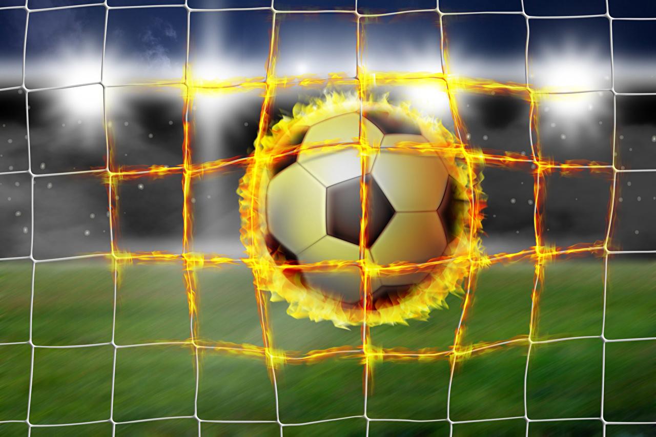 Фотография спортивная сетка Спорт Футбол Огонь Мяч Сетка спортивный спортивная спортивные Пламя Мячик