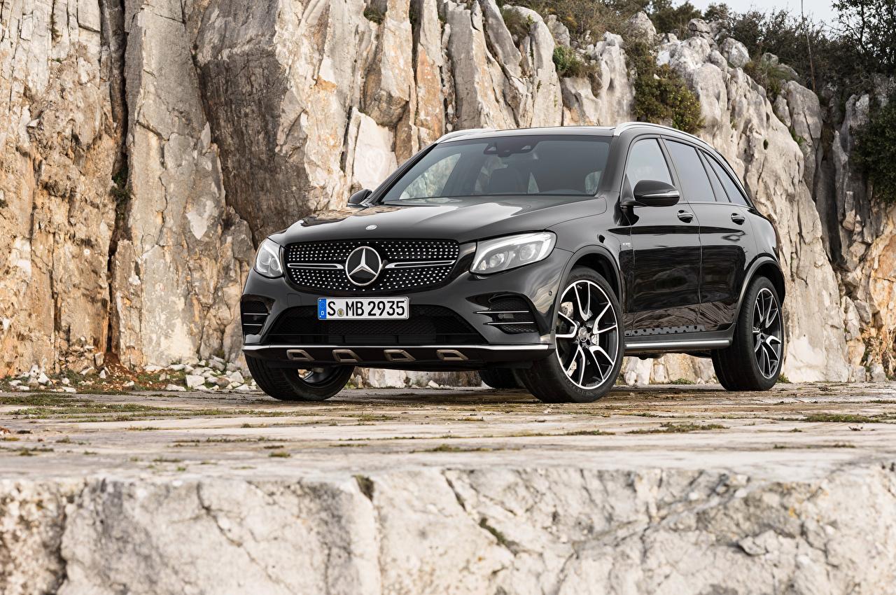 Фото Мерседес бенц AMG, X253 GLC-Class черные машина Mercedes-Benz черная Черный черных авто машины Автомобили автомобиль