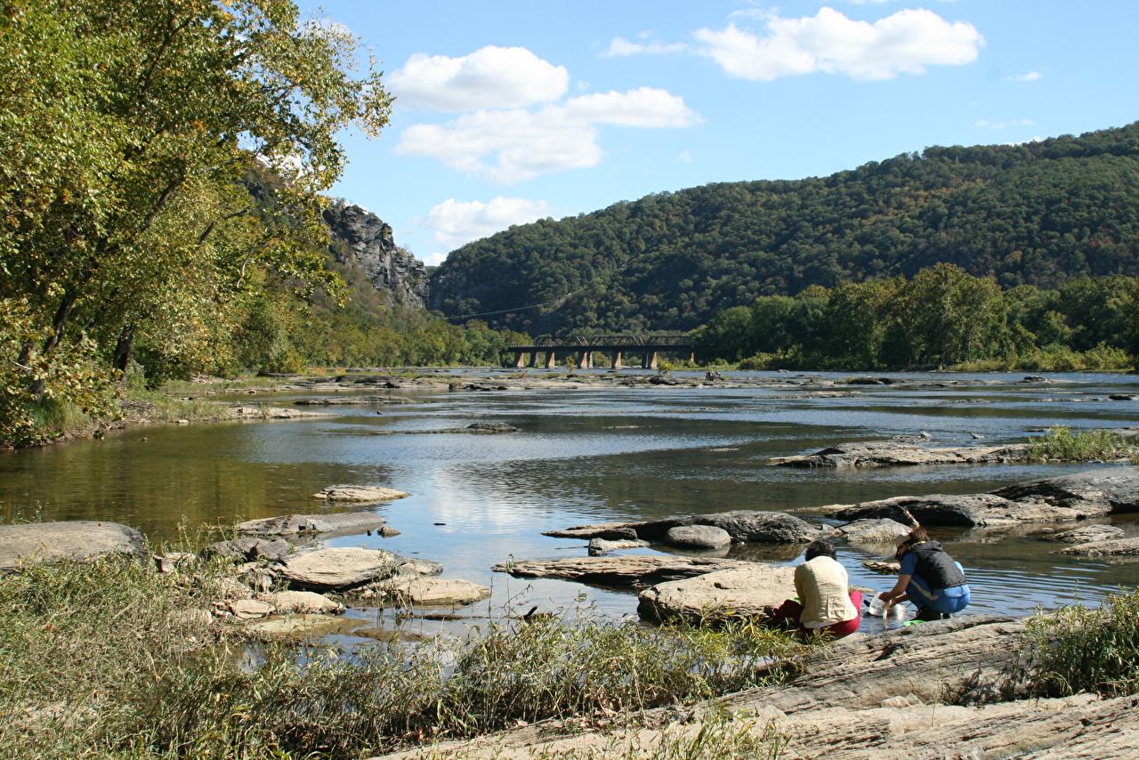 Фотографии штаты Potomac River Утес Мосты Природа река Камни США америка мост скалы Скала скале Реки речка Камень