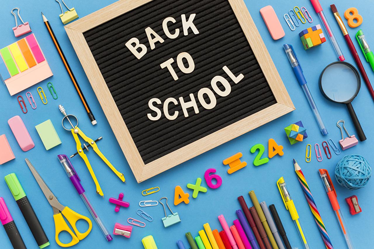 Обои Канцелярские товары школьные Карандаши Английский Увеличительное стекло Шариковая ручка Школа Лупа