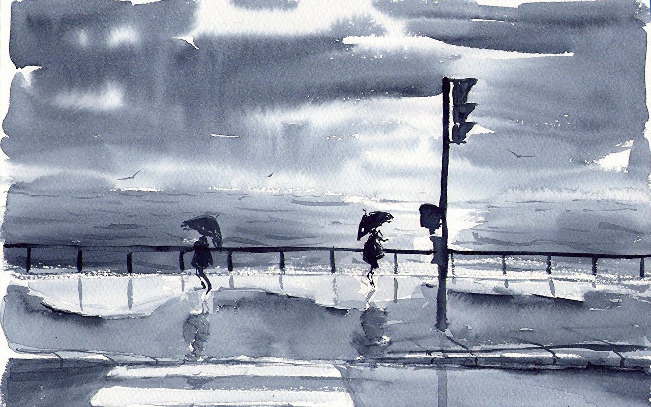 Фото Море Природа Улица Зонт картина Рисованные улиц улице зонтик зонтом Живопись