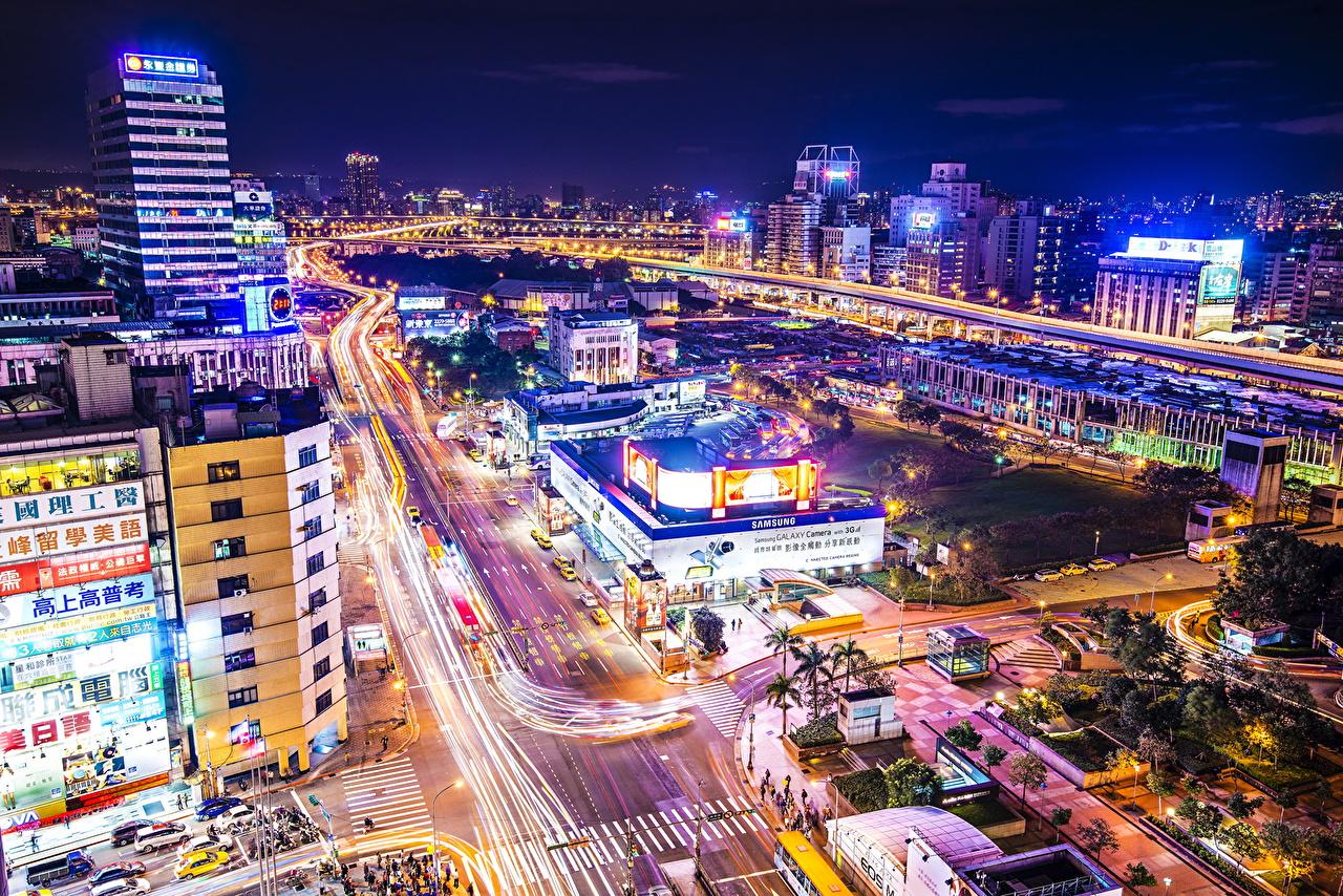 Фото Тайбэй Тайвань Китай мегаполиса Дороги Ночь Сверху Дома город Мегаполис ночью в ночи Ночные Города Здания