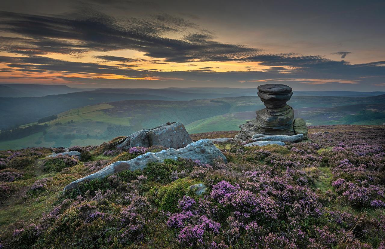 Фото Англия Peak District Природа Холмы Камни Вечер Облака холм холмов Камень облако облачно