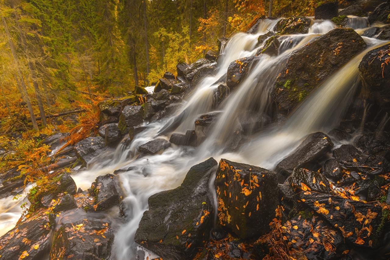 Обои Финляндия Northern Savonia, Maaninka Осень Природа Водопады Камни осенние Камень