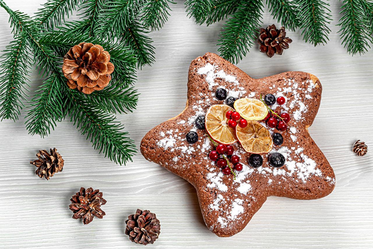 Фотография Новый год Звездочки Сахарная пудра ветвь Ягоды Шишки Печенье Продукты питания Рождество Еда Пища Ветки ветка шишка на ветке