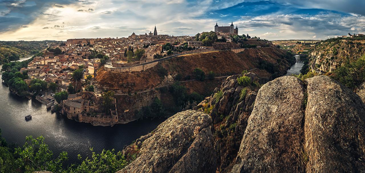 Картинки Толедо Испания Скала речка Города Здания Утес скалы скале Реки Дома город