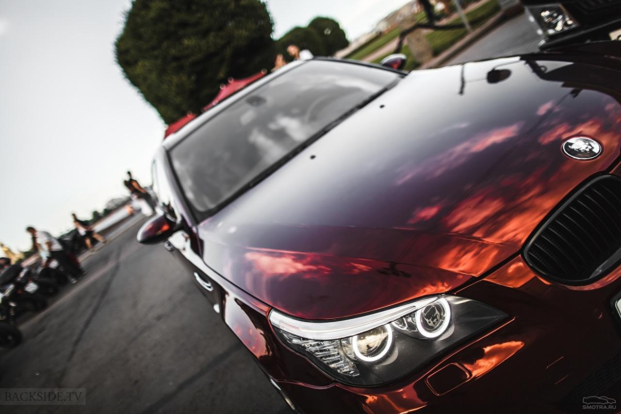 Фотографии BMW E60 5 series бордовые фар Автомобили БМВ бордовая Бордовый темно красный Фары авто машины машина автомобиль