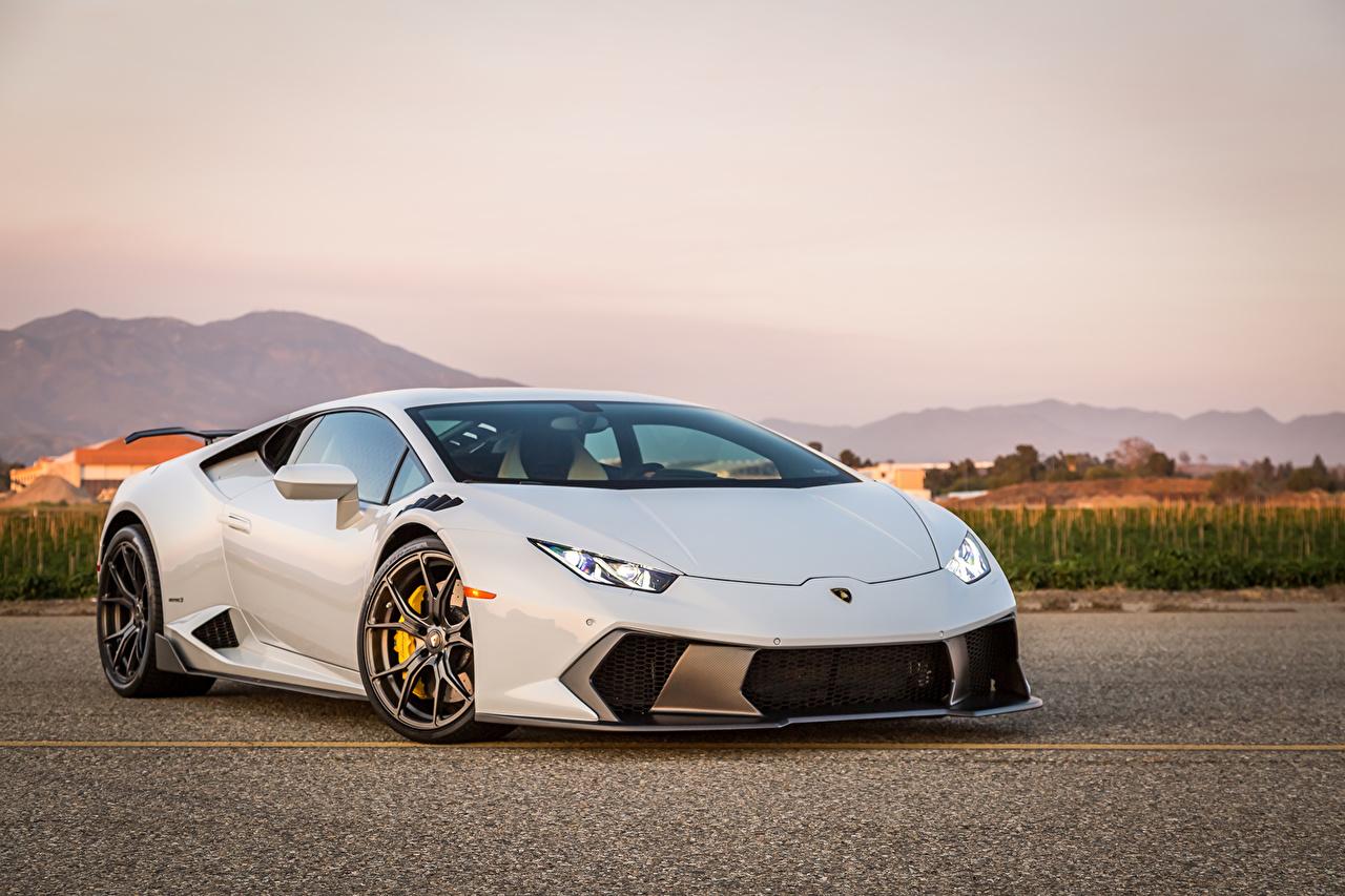 Фотографии Ламборгини huracan novara tuning белые Автомобили Lamborghini белых Белый белая авто машина машины автомобиль