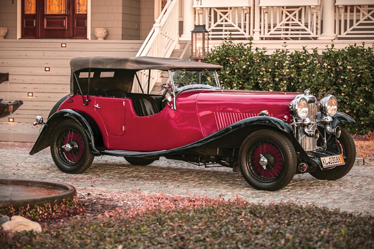 Картинка 1934 Lagonda 16-80 Tourer Винтаж Красный Металлик Автомобили Ретро красных красные красная старинные авто машина машины автомобиль