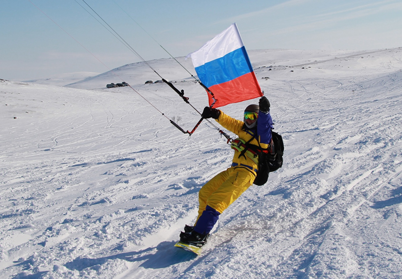 Картинки Россия Kitesurfing Спорт зимние Снег Флаг Зима
