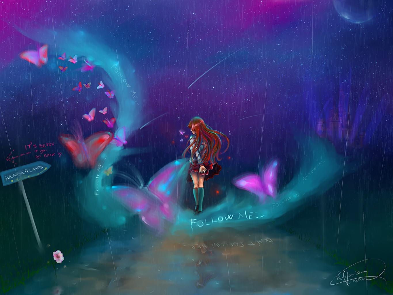 Картинка бабочка Школьницы Gabrielle Ragusi Фантастика Луна Ночь Рисованные Бабочки ученица Школьница Фэнтези луны луной ночью в ночи Ночные