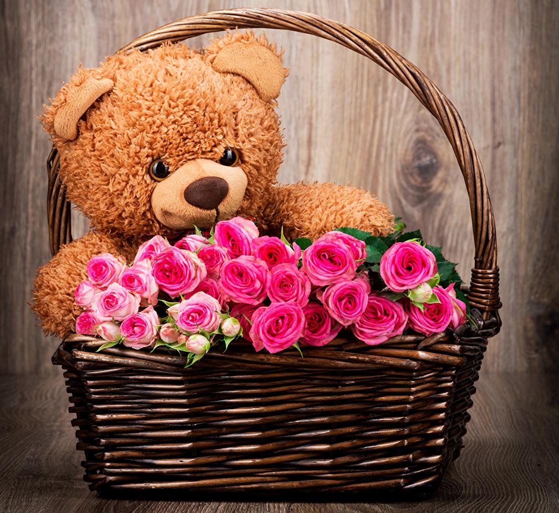Картинка Розы Розовый Мишки Цветы Корзинка Бутон Игрушки