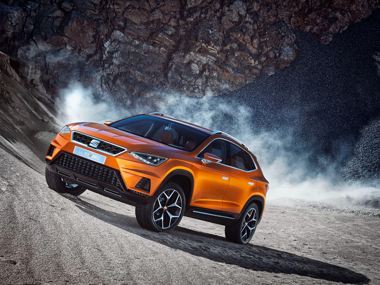 Картинки Seat Concept 20V20 2015 оранжевых машина Сиат Оранжевый оранжевые оранжевая авто машины автомобиль Автомобили