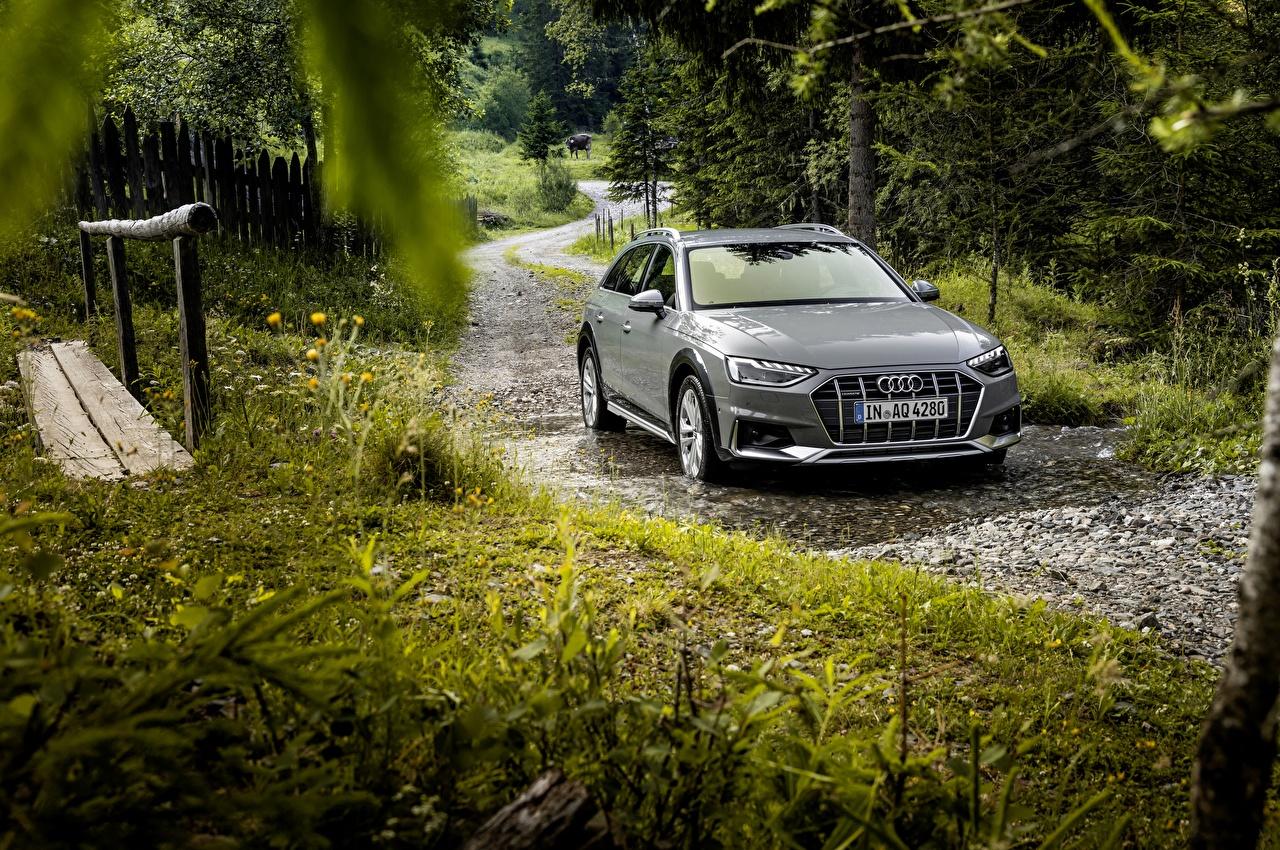 Фотография Ауди Универсал 2019 A4 Allroad Quattro серая Лужа машины Audi серые Серый лужи авто машина автомобиль Автомобили