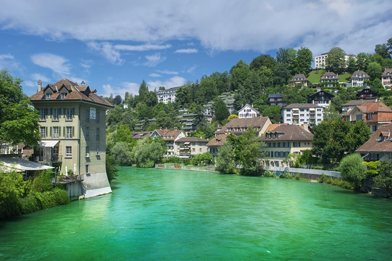 Картинка Берн Швейцария Aare river речка Дома Города дерева река Реки город Здания дерево Деревья деревьев