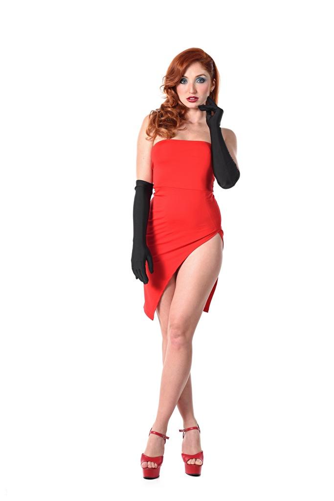 Фотографии Девушки Red Fox Michelle H iStripper Руки Туфли перчатках белым фоном Платье рыжие ног  для мобильного телефона девушка молодая женщина молодые женщины рука туфель туфлях Перчатки Белый фон белом фоне платья Рыжая рыжих Ноги
