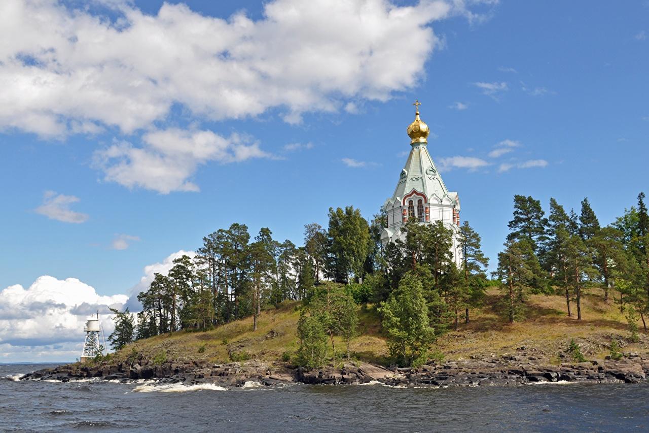 Фотографии Монастырь Россия Balaam, lake Ladoga, Spaso-Preobrazhensky monastery Природа Озеро Остров Деревья