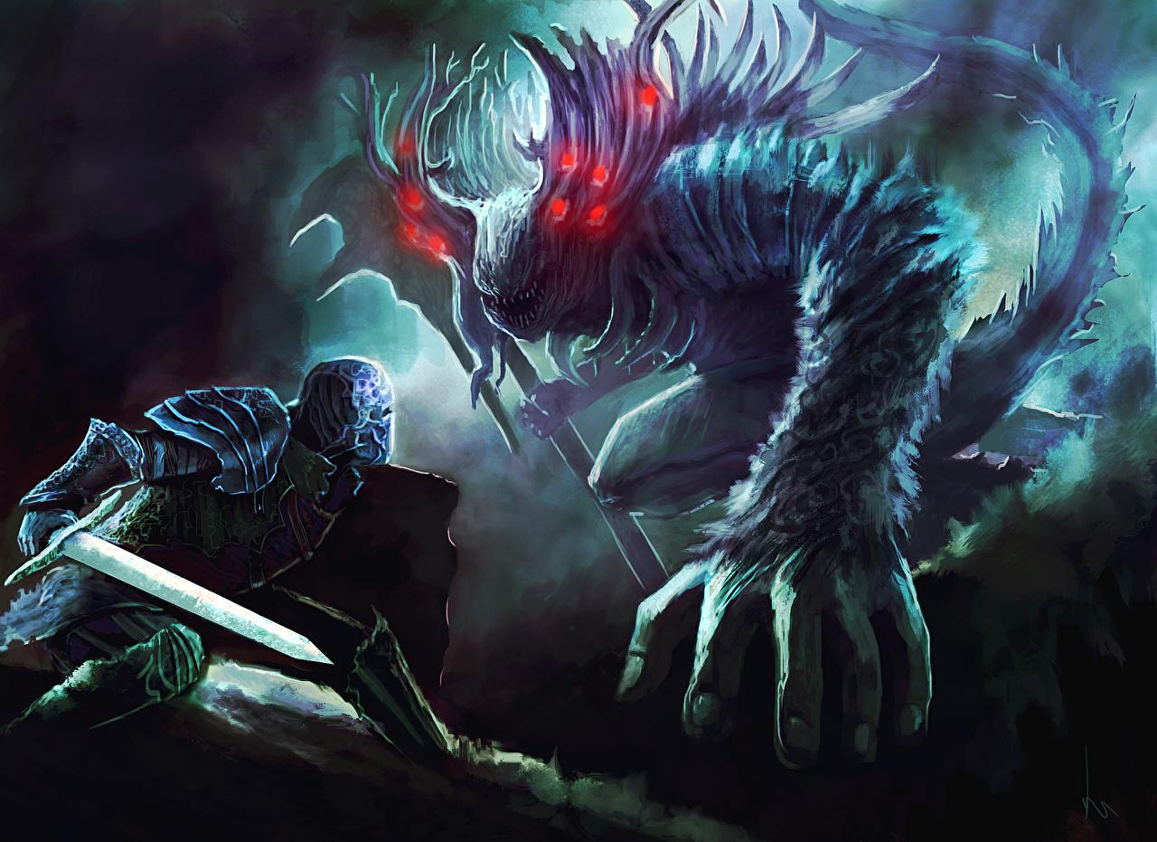 Обои для рабочего стола Фантастика Dark Souls меча Доспехи Монстры Воители Фан АРТ битва Фэнтези меч Мечи броня броне с мечом доспехе доспехах монстр чудовище воин воины Fan ART Битвы сражения