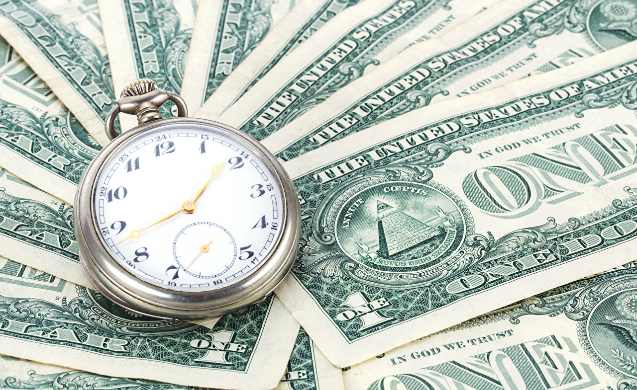 Фото Купюры Доллары Карманные часы Часы Деньги Банкноты