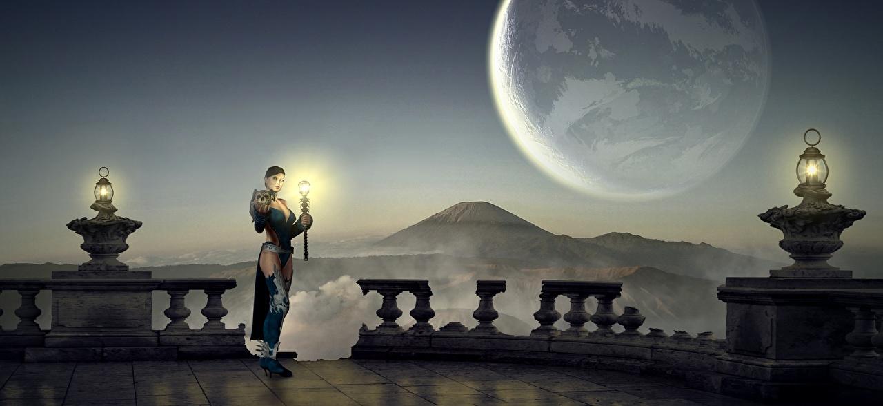 Фото Колдун Планеты Фэнтези Девушки 3D Графика Ночь Лампа чародей Маг волшебник Фантастика Ночные