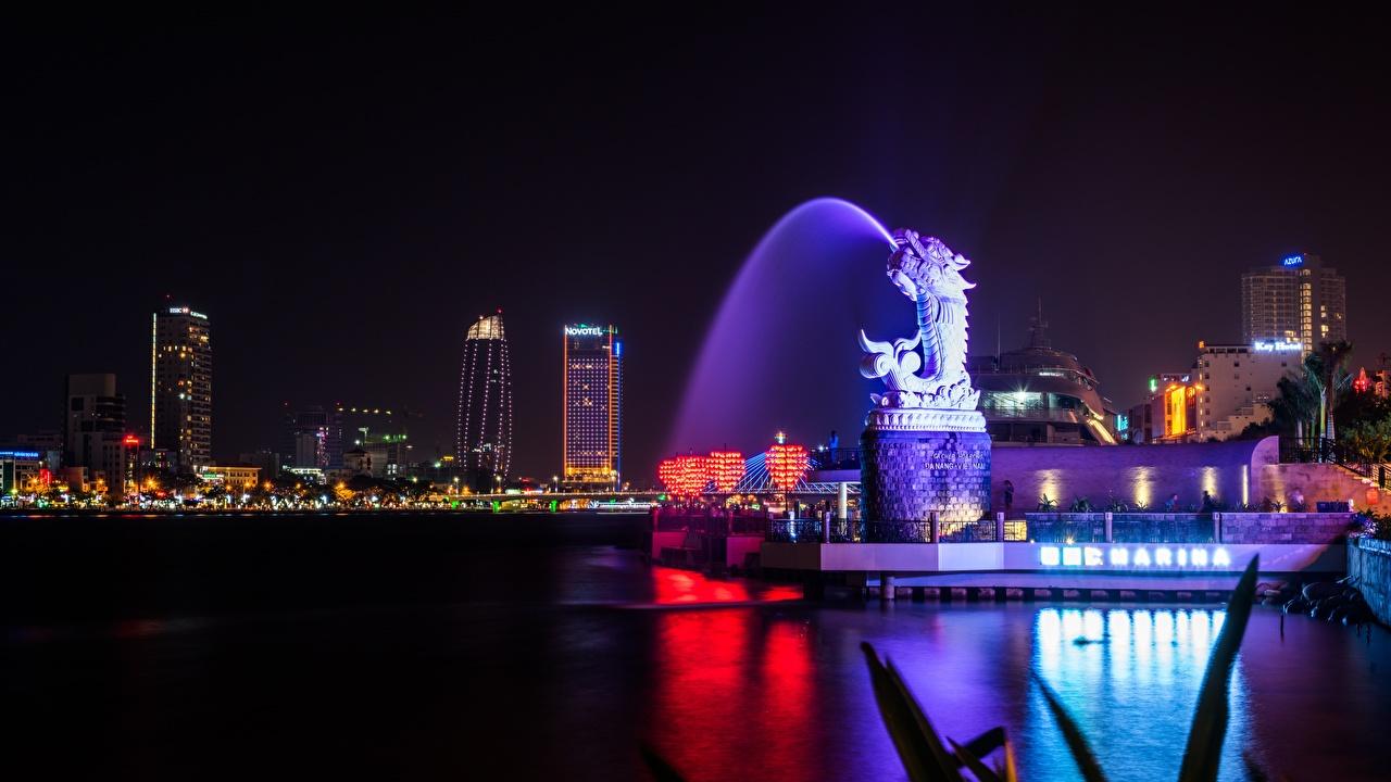 Фотографии Драконы Вьетнам Фонтаны Da Nang в ночи город дракон Ночь ночью Ночные Города
