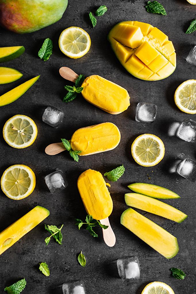 Фото льда Манго Леденцы Мороженое Лимоны Пища нарезка  для мобильного телефона Лед Еда Продукты питания Нарезанные продукты