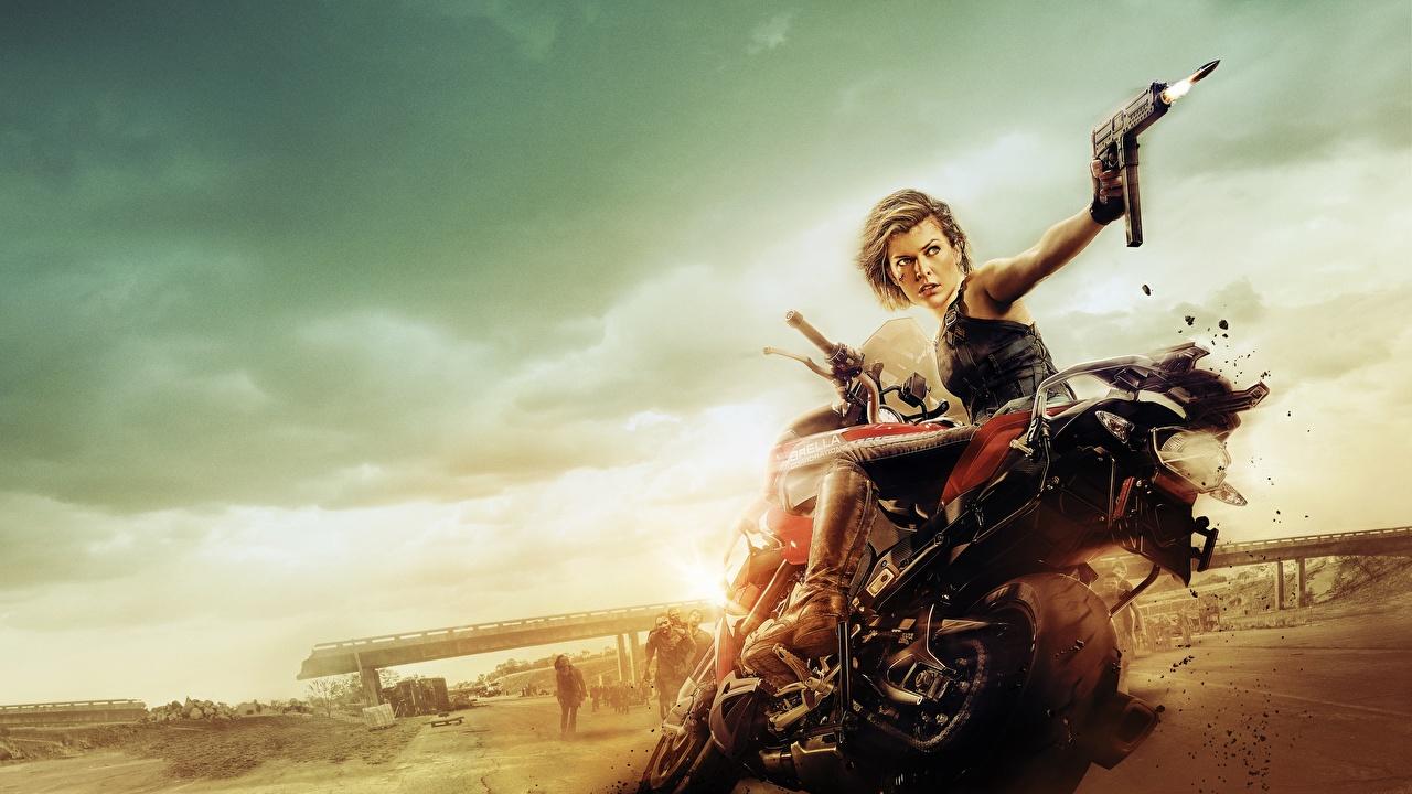 Картинки мотоцикл Обитель зла Milla Jovovich Знаменитости молодые женщины Обитель зла 6: Последняя глава Фильмы Мотоциклы Милла Йовович девушка Девушки молодая женщина кино