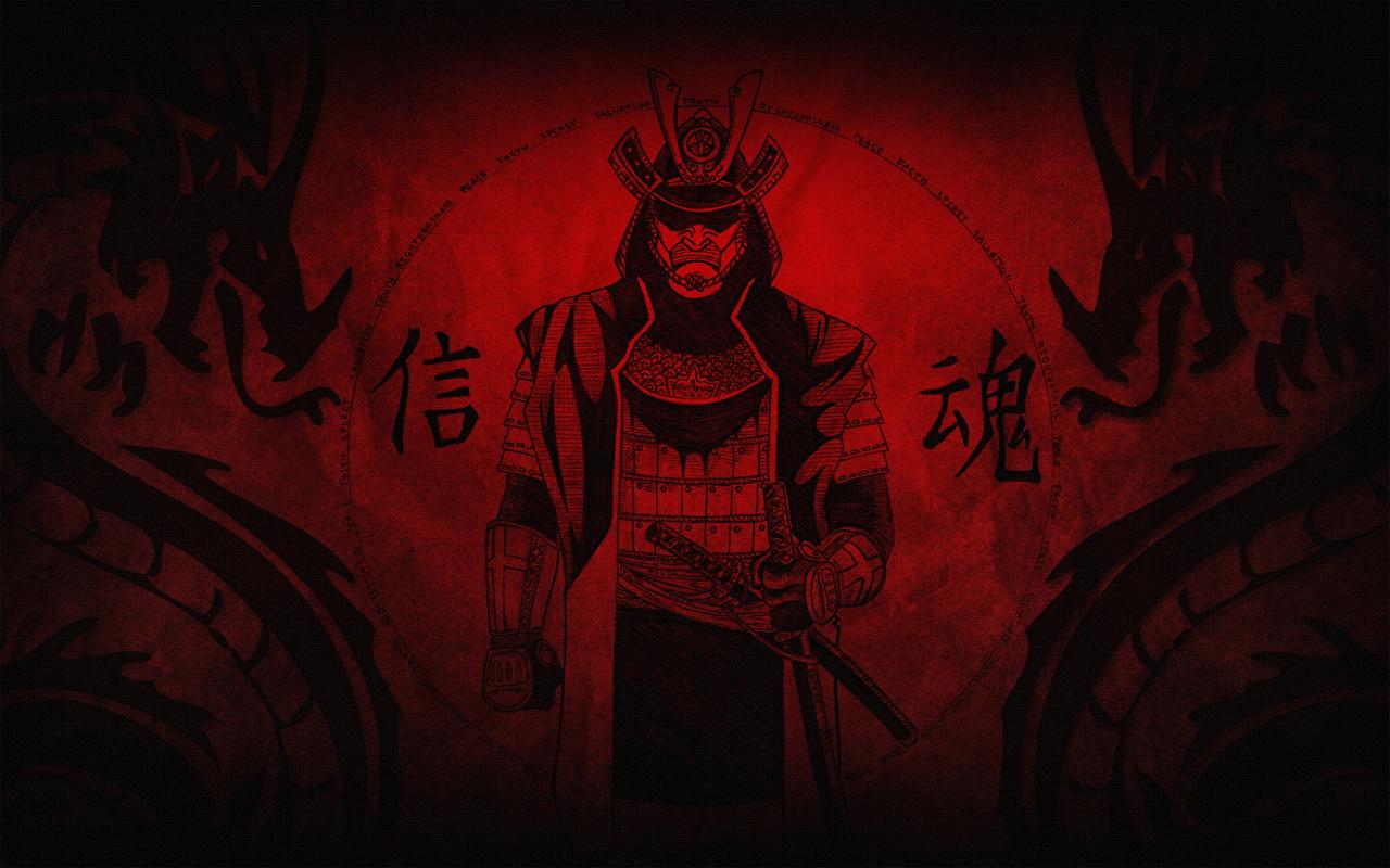 Фото Самурай Фэнтези красных Иероглифы Рисованные