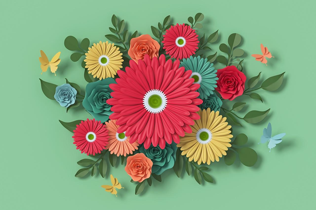 Картинки бумаги Герберы зеленых 3D Графика Цветы Дизайн бумаге Бумага 3д гербера зеленая зеленые Зеленый цветок дизайна