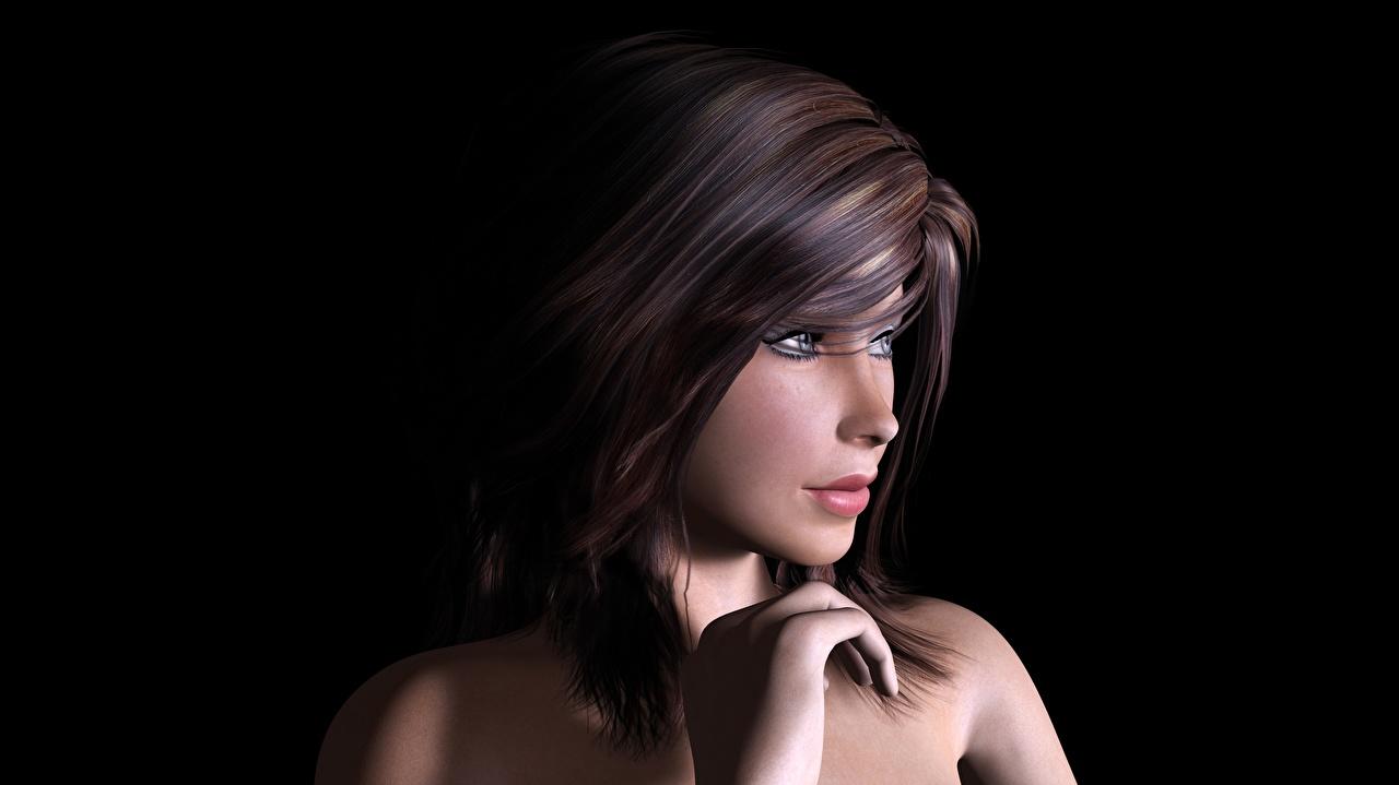 Обои для рабочего стола шатенки Красивые 3д Волосы Девушки смотрит Черный фон Шатенка красивый красивая волос девушка 3D Графика молодые женщины молодая женщина Взгляд смотрят на черном фоне