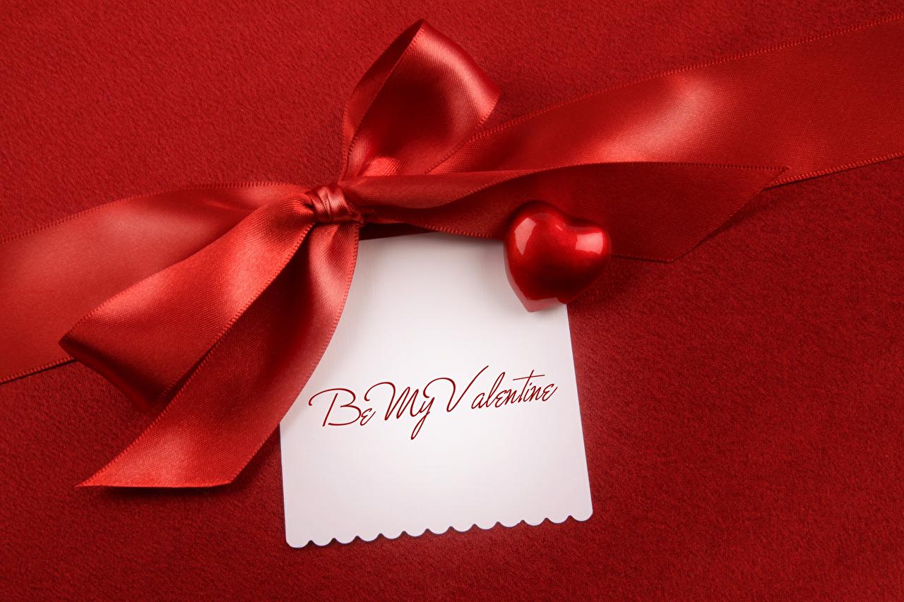 Фотографии День святого Валентина инглийские Лист бумаги Бантик ленточка Красный фон День всех влюблённых Английский английская бант Лента бантики красном фоне