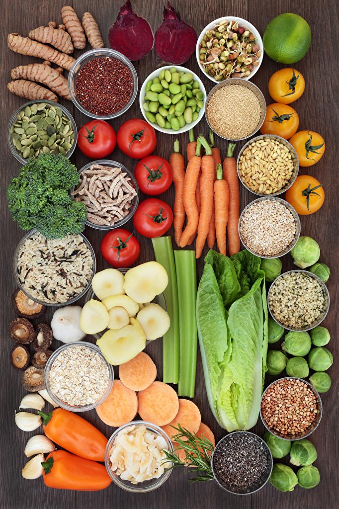 Картинка Томаты Морковь Пища Перец Овощи Специи Помидоры Еда пряности приправы Продукты питания