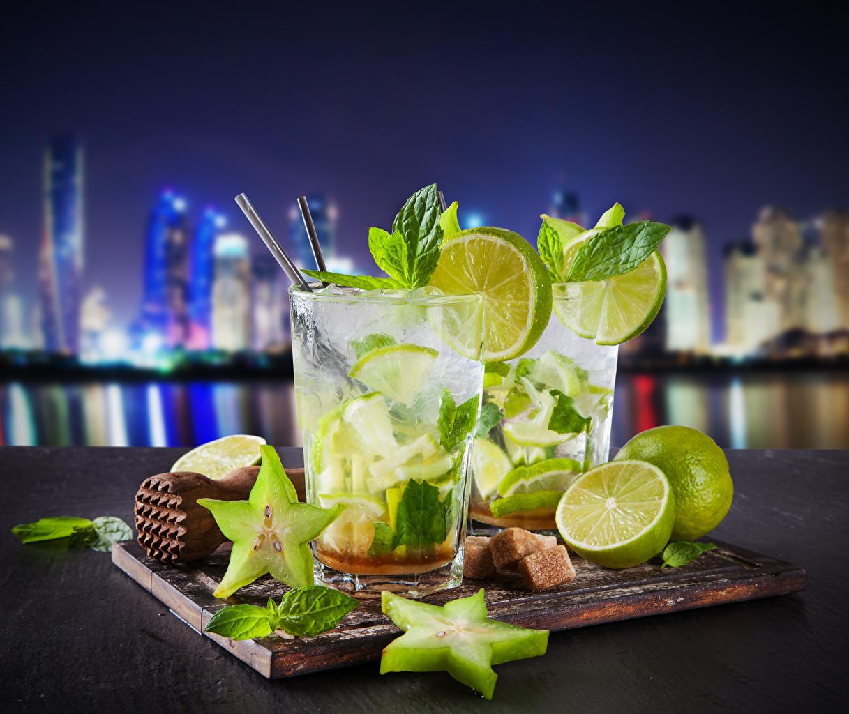 Картинки Мохито Стакан Лимоны Пища Напитки Еда Продукты питания