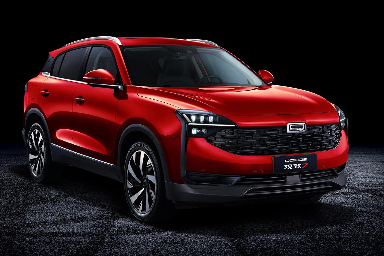 Обои для рабочего стола китайский Кроссовер Qoros 7, 2020 Красный Металлик автомобиль Китайские китайская CUV красная красные красных авто машины машина Автомобили