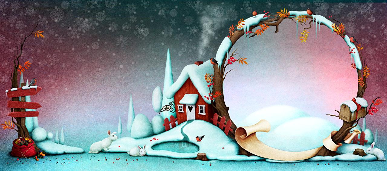 Обои Кролики Рождество Зима Природа снежинка снега Шаблон поздравительной открытки Дома Новый год зимние Снежинки Снег снеге снегу Здания