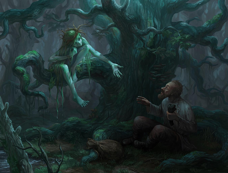 Картинки Иллюстрации к книгам старый мужчина Mermaid and Gavrila, Bezhin meadow Двое Фантастика дерева Старик пожилой мужчина 2 два две вдвоем Фэнтези дерево Деревья деревьев
