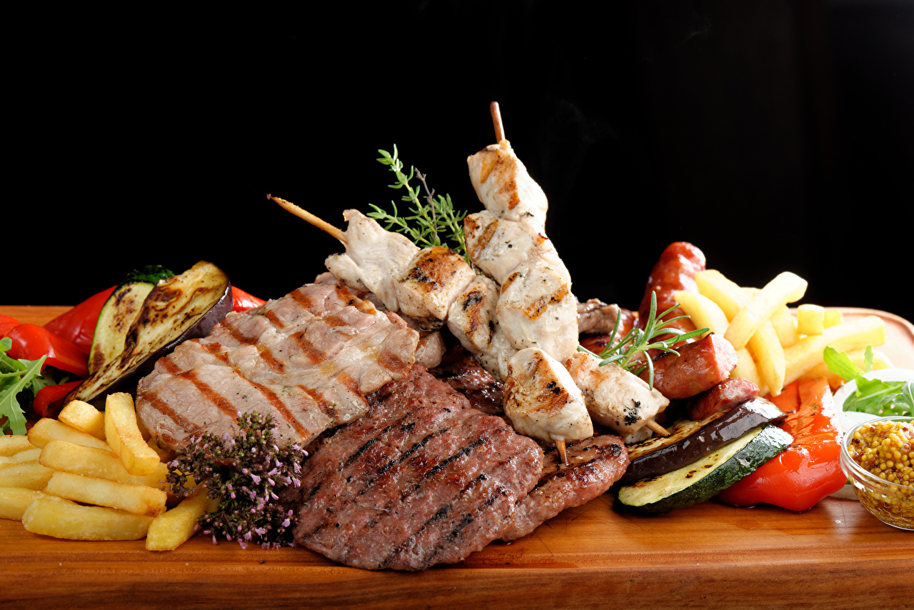 Обои Шашлык Овощи Продукты питания Мясные продукты Еда Пища