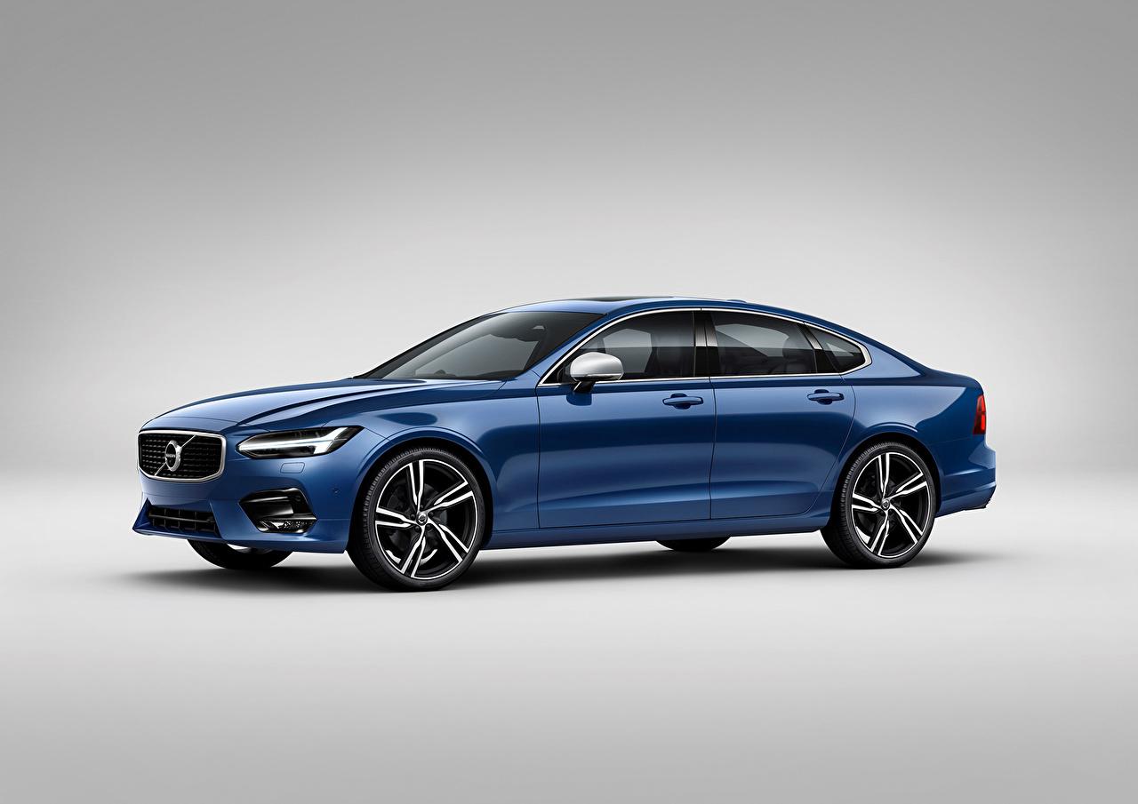 Фото Вольво S90 Sedan Седан синяя Сбоку машина Volvo синих синие Синий авто машины автомобиль Автомобили