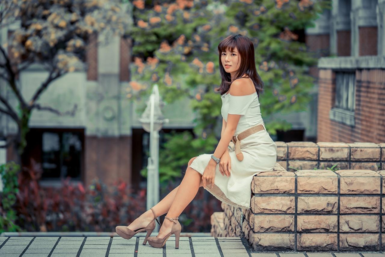 Фотография Шатенка Девушки ног азиатки сидящие платья туфлях шатенки девушка молодые женщины молодая женщина Ноги Азиаты азиатка сидя Сидит Платье Туфли туфель