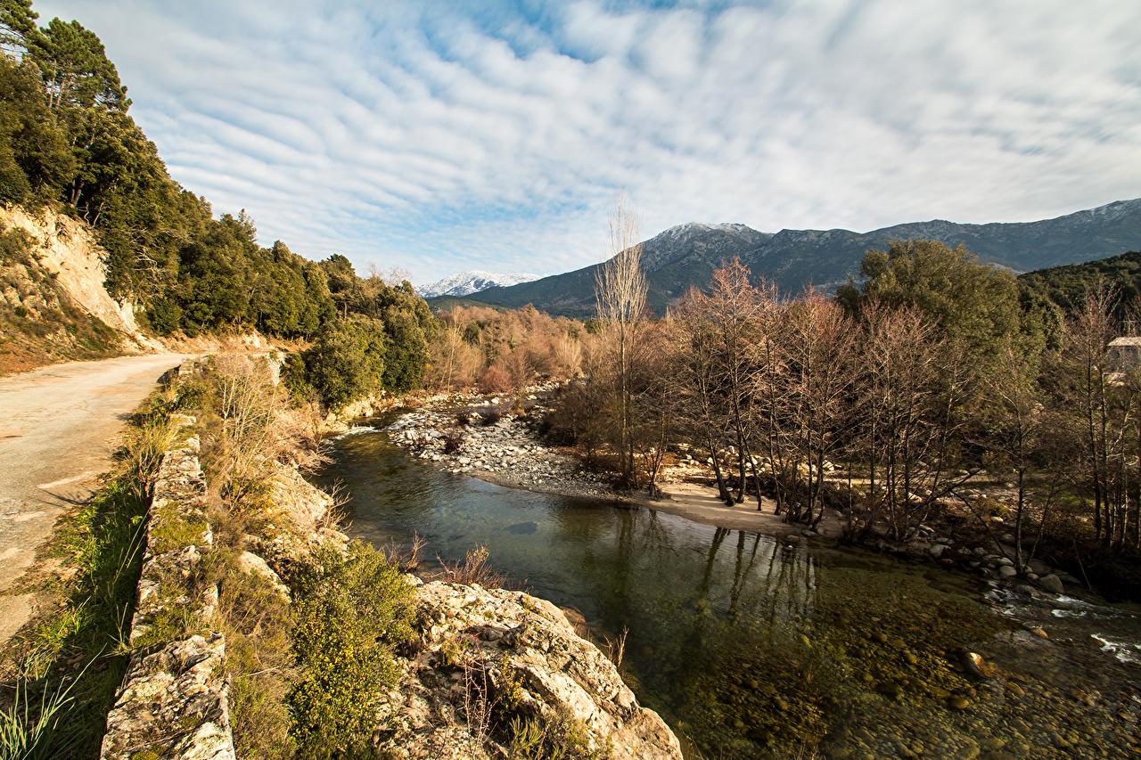 Фотографии Франция Corsica Природа Небо Реки Деревья речка