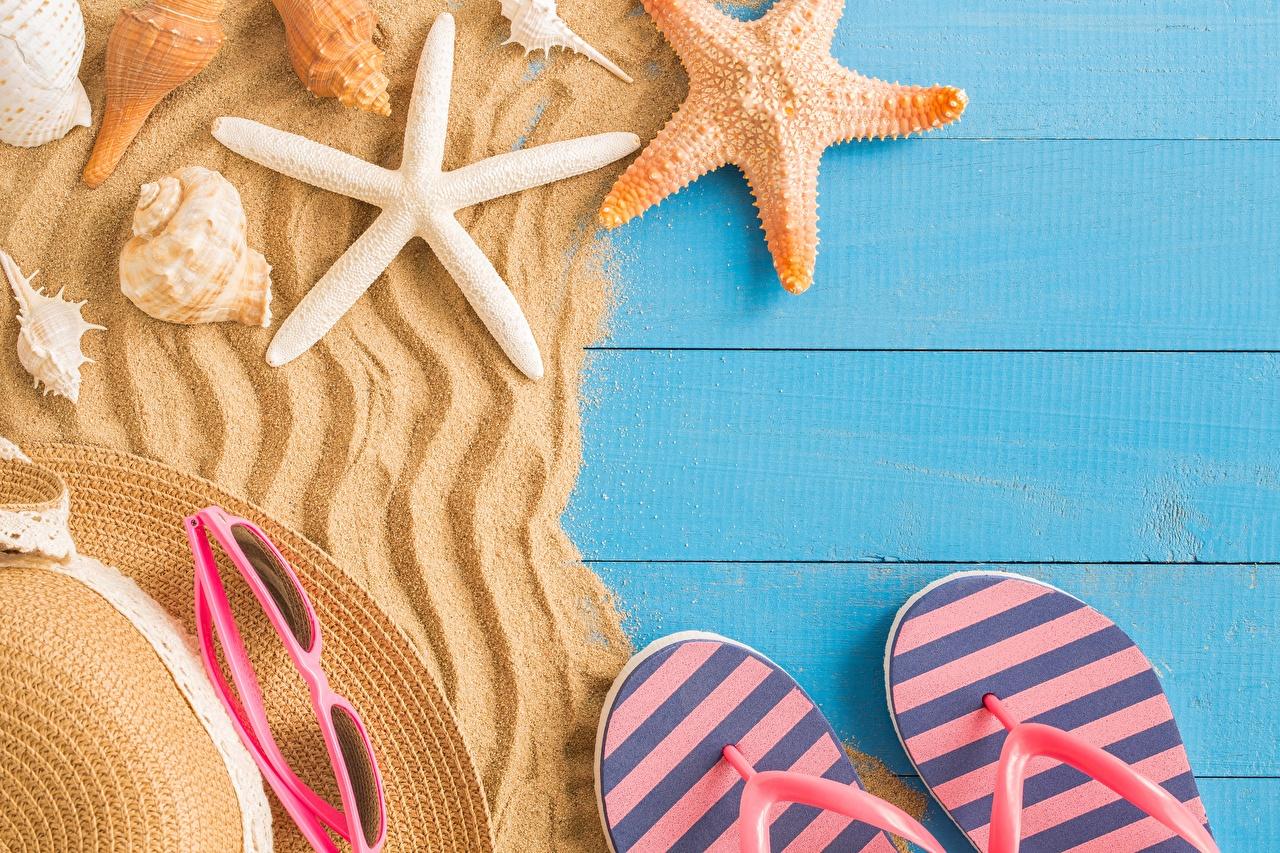 Картинки Морские звезды Вьетнамки Лето Песок сланцы шлепки песка песке