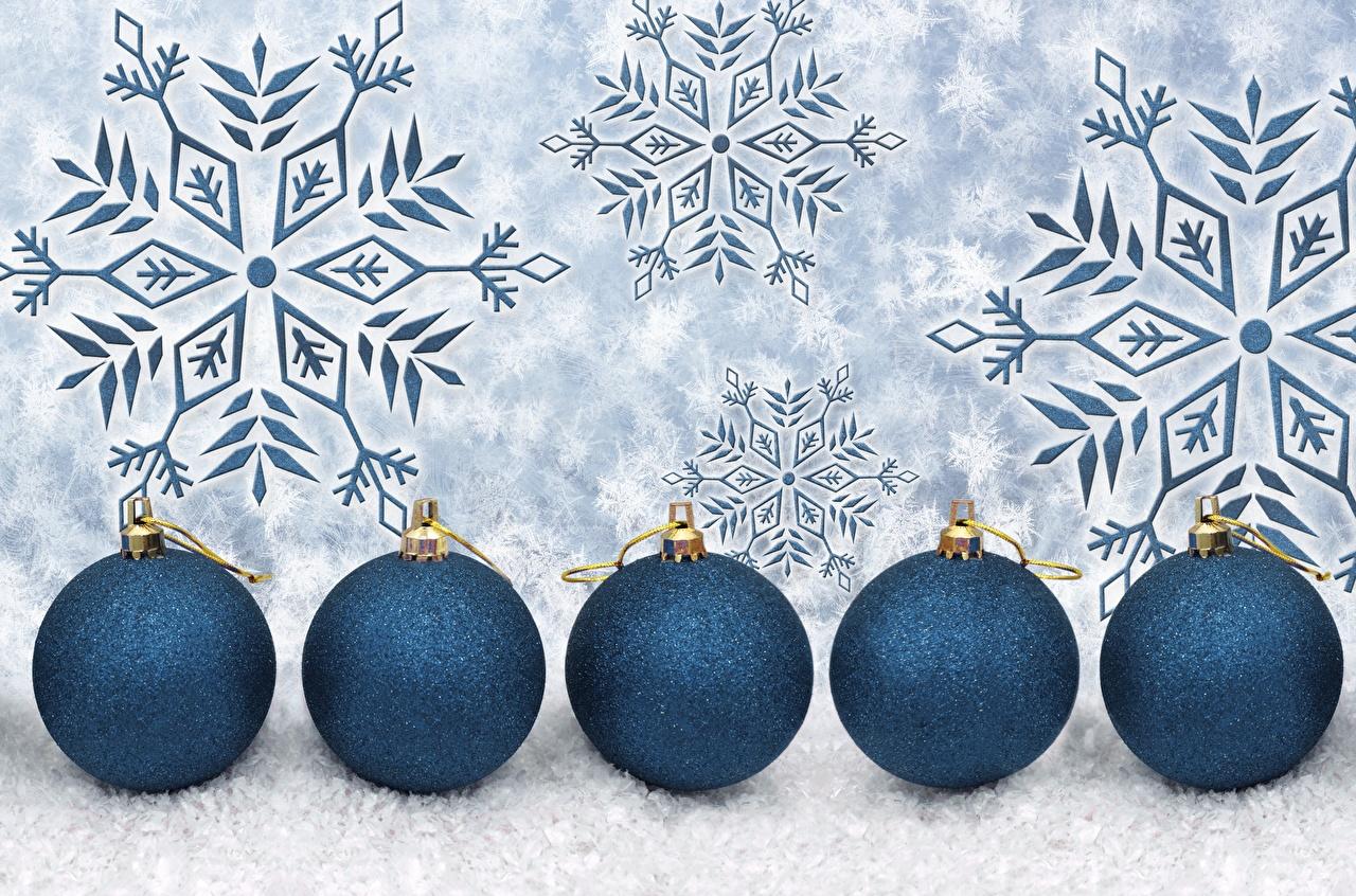 Обои для рабочего стола Новый год Снежинки Шар Рождество снежинка Шарики